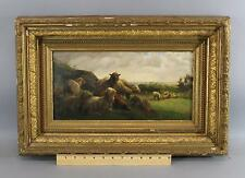 Antique 19thC English Country Sheep Landscape Oil Painting, Gold Gilt Frame NR