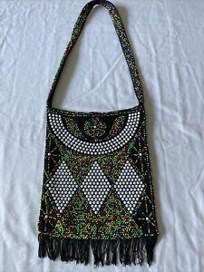 Vintage 1960's 70's Black Fringe Multi Color Beaded Hippie Handbag Mid Century