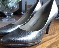 NEW Ellen Tracy Italian Grey Metallic Croc Effect Heels. Size 6.5 UK.