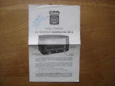 Brochure mode d'emploi notice RADIOLA RA 35 A recepteur poste radio