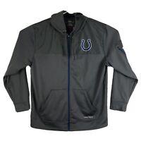 Mens XL Majestic Indianapolis Colts Full Zip Rain Hoodie Jacket Therma Base Gray