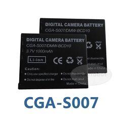 Two Battery PACK CGA-S007E for Panasonic 3.7V  Lumix DMC-TZ3 CGA-S007E Camera