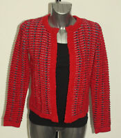 M&S Per Una Size 8 Open Front Collarless Knitted Jacket Cardigan Bnwt Red