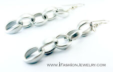 Drop Dangle Earrings Plastic Fashion Jewelry Hip Big Silver Tone Gray Chain Long