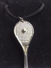 "Tennis Ball On Bat TG224 Fine English Pewter On 18"" Black Cord Necklace"
