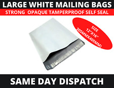 50 x Strong Large 12x16 White Mailing Self Seal Polythene Post Parcel  Poly Bags