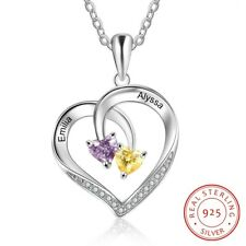 Personalized 925 Silver Women Necklace Charm Engrave Name Love Heart Birthstone