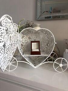 Heart Ring Bearer holder Box Wedding  Rustic Carriage White Vintage Proposal