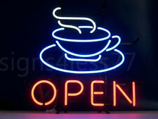 "New Coffee Cafe open Light Lamp Real Glass Bar Decor Neon Sign 20""x16"""