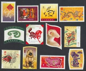 CHINESE ZODIAC = FIRST FULL LUNAR 12 NEW YEAR CYCLE = MNH Canada 1997-2008