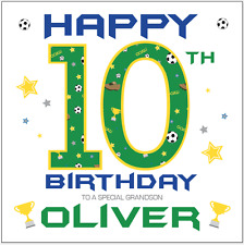 Personalised 10th birthday card boys football Any Age/Name Son Grandson Brother