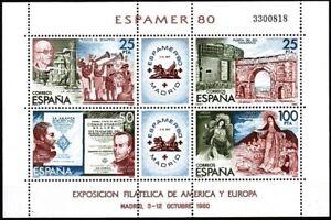 SPAIN 1980 Stamp Expo ESPAMER'80. Music Architecture Sculpture Literature, MNH
