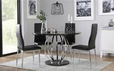 Savoy Round Black Marble and Chrome Dining Table - with 4 Renzo Black Chairs