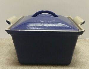 Le Creuset 2 Qt Square Deep Baking Casserole Dish w Lid Cast Iron Blue