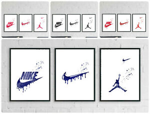 Nike air jordan prints sports logo wall art bedroom living room office decor