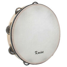 More details for tambourine 10 inch hand held drum percussion metal jingles bell birch