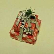 Dollhouse Miniature Handcrafted Christmas Double Gift Package Red & Silver 1:12