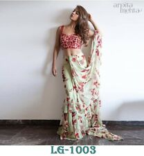 Designer Ruffle Border Saree Indian Pakistani Bollywood Pretty Sari LG-1003
