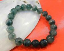 10mm Verde Jade Perlas Pulsera Brazalete Broche De Plata Tibetana