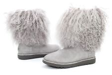 UGG LIDA CURLY MONGOLIAN SHEEPSKIN SUEDE SEAL GREY BOOT WITH THE FUR! SIZE 8 US