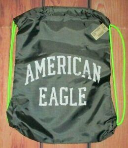 MENS AMERICAN EAGLE GRAY CHARCOAL NEON GREEN DRAWSTRING BAG SACK PACK BACKPACK