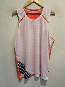 Peloton x Rhone Pullover Tank Top Home Cycling Jersey Sz LARGE Adult Orange/Wht