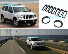 fit for 2011-17 Jeep Patriot Black Front Grille Trim + HeadLight Lamp Cover Trim