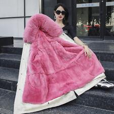 Real Rabbit Fur Lining Fox Fur Collar Hooded Parka Women Winter Long Outwear New