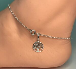 """Sterling Silver Tree of Life Anklet, Ankle Chain Bracelet Solid 925 Silver 9-12"""""""