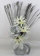 HANDMADE ARTIFICIAL SILK SILVER GLITTER ROSE-CREAM FLOWERS, GLITTER FOSSIL VASE