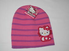 NWT HELLO KITTY knit hat Girl ONE SIZE FITS MOST (3-16?) stripe purple pink