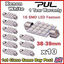 10x WHITE 239 264 38MM 39MM NUMBER PLATE INTERIOR LIGHT FESTOON BULB 16 SMD LED