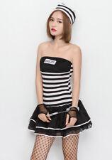 Women Halloween Prisoner Convict Striped Strapless Dress Costume Fancy Dress