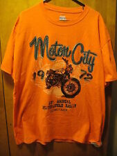Motor City 1st Annual Motorcycle Rally 1972 Detroit T Shirt XL Orange Cafe Racer
