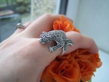 SUPERB SOLID STERLING SILVER LEOPARD CAT PANTHER MARCASITE RING SIZE R 8.5 RARE