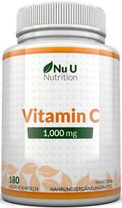 Vitamin C 1000mg Immununterstützung 180 Tabletten, keine Kapseln High Strength