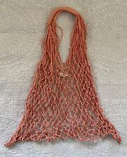 MANGO Red White Net Tote Bag