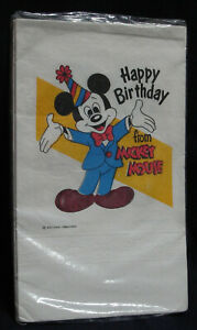 Vintage Happy Birthday from Mickey Mouse table cover Disney USA new 54 by 96 in