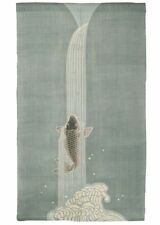 Kyoto Noren Door Curtain Linen Handcraft  Koi Carp waterfall climb Motif Japan