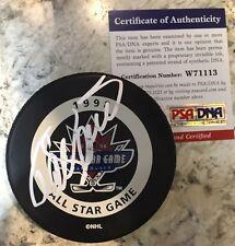 SIGNED OFFICIAL NHL GAME PUCK ANAHEIM DUCKS TEEMU SELANNE 1998 All Star PSA/DNA