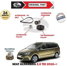 FOR SEAT ALHAMBRA 2.0 TDi 2010-> ALTERNATOR FAN BELT + TENSIONER + TVD + PULLEY