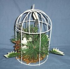 """9"""" Metal Wire Bird Cage Christmas Foliage Holly White Pinecone Ice Centerpiece"""