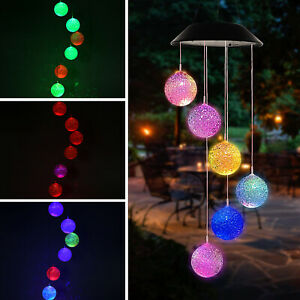 Hanging Colour Changing Solar Powered LED Ball  Wind Chime Lights Garden Outdoor