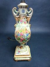 """Vintage Beckwith China Floral Gilt Gold Footed Porcelain Table Lamp 24"""""""
