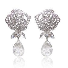 CLIP ON Zircon Big Water Drop Women Earrings Bridal Wedding Cubic Dangle Earring