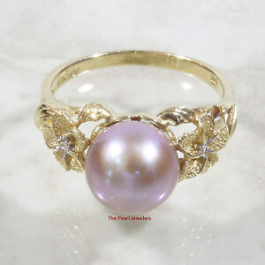 14k Yellow Gold AAA 8.5-9mm Lavender Cultured Pearl Diamonds Solitaire Ring-TPJ