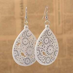 Bohemian White Wood Filigree Teardrop Dangle Earrings