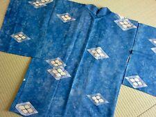 Giacca Haori kimono Vintage 100%seta Blu giapponese /Ottimo per Regalo