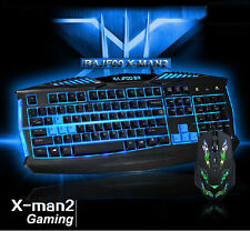 RAJFOO X-Man2 Backlit Ergonomic Usb Gaming Keyboard +7D 2400DPI Gaming Mouse Set