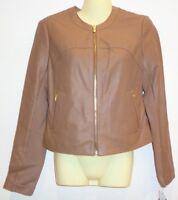 Via Spiga Size Medium Sand Leather Collarless Jacket Coat New Womens Clothing